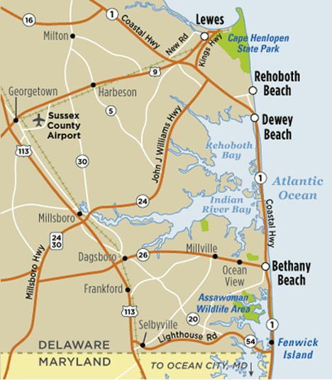 Map of Rehoboth Beach, DE | Visit Delaware Beaches | Rehoboth ... Delaware State Map With Cities on