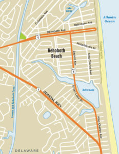 Map of Rehoboth Beach DE