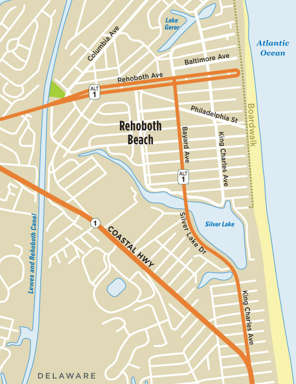 Map Of Delaware Beaches Map of Rehoboth Beach, DE | Visit Delaware Beaches | Rehoboth