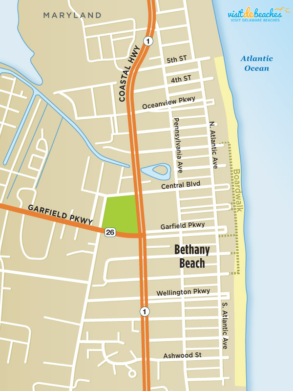 Map of Bethany Beach, DE | Visit Delaware Beaches | Rehoboth ...